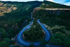 Rowena Crest Highway lizenzfreie stockfotos