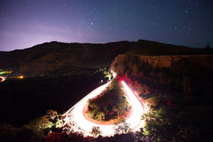 Rowena Crest viewpoint in Oregon at night. Car light trails from the Rowena Crest viewpoint in Oregon Stock Images