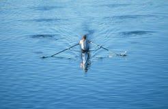Rower в шлюпке на реке Charles Стоковые Изображения RF