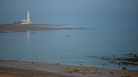 Rower. Passes light house in early evening  sun Stock Image