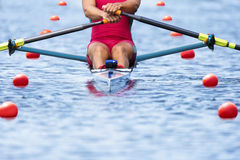 Rower front view pylons Royalty Free Stock Photos