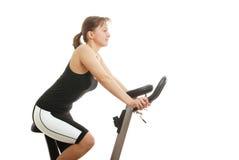 rower kobiety odizolowanych siedząc przędzalniani young Zdjęcia Royalty Free