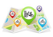 Rower mapy pointeru lokaci Rowerowy Do wynajęcia miejsce przeznaczenia na mapie Fotografia Royalty Free