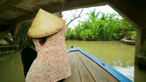 Rower Paddle Canoe at Majestic Gorgeous Mekong River,Vietnam stock video