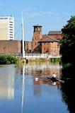 Rower on River Derwent, Derby. Stock Photos