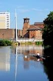 Rower on River Derwent, Derby. Stock Photos