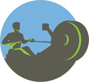 Rower Rowing Machine Circle Retro Stock Image