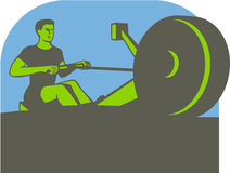 Rower Rowing Machine Half Circle Retro Stock Image