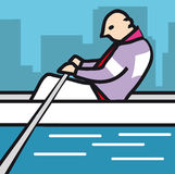 Rower. Stylised man rowing on river Stock Photos