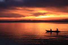 Rower at sunset. Image of silhouette, Rower at sunset stock image