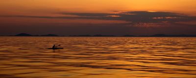Nice sunset above the Adriatic sea. Rower during sunset above the Adriatic sea, holiday Royalty Free Stock Photos