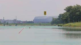 Rower in training on the Jarun lake stock footage