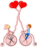 rowerowa chłopiec dziewczyny miłości przejażdżka ilustracja wektor