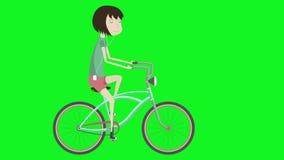rowerowa dziewczyna Modniś na miasto rowerze 2d aanimation w stylu płaskiej ilustraci z zieleń ekranem
