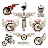 Rowerowe grunge odznaki, ikony, retro logotypy, odizolowywający na białym tle ilustracja wektor