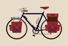 Rowerowego ilustracyjnego graficznego rocznika roweru kolarstwa Krajoznawczy zmrok - błękit royalty ilustracja