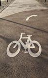 rowerowego pasa ruchu drogowy znak Obraz Stock