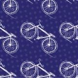 Rowerowy bezszwowy wzór na barwionym tle Fotografia Royalty Free