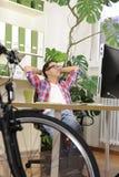 rowerowy biznesmena zieleni biuro Obrazy Royalty Free