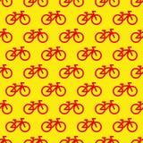rowerowy deseniowy bezszwowy Czerwone ikony na Żółtym tle Zdjęcia Stock