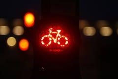 rowerowy lekki czerwony ruch drogowy Zdjęcie Stock