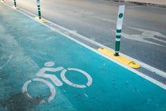 Rowerowy pas ruchu Bicyklu znak, Szyldowy wskazywanie oddany rowerowy pas ruchu Fotografia Royalty Free