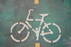 rowerowy pas ruchu na cement ziemi Obraz Stock