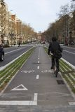 Rowerowy pas ruchu w Barcelona. Hiszpania Zdjęcia Royalty Free