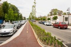 Rowerowy pas ruchu w Burgas, Bułgaria Zdjęcie Royalty Free
