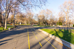 Rowerowy pas ruchu w Dennym ogródzie Bourgas, Bułgaria Obraz Stock