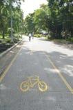 Rowerowy pas ruchu w jawnym parku Zdjęcie Stock
