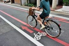 Rowerowy pas ruchu w Kyoto terenie, Japonia obraz stock