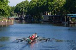 Rowers в канале Стоковое Изображение RF