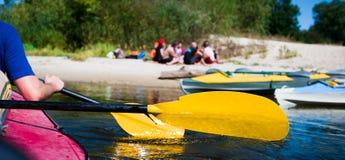 Rowers на плавать каное Стоковое фото RF