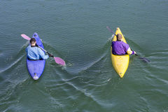 2 rowers с каное Стоковые Изображения