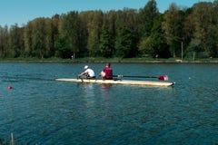 Rowers тренируют, Bosbaan Амстердам стоковое фото