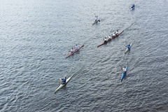 Rowers accompanying the Olympic torch Royalty Free Stock Images