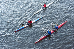 Rowers accompanying the Olympic torch Royalty Free Stock Photo