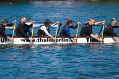 Rowers in a boat. Royalty Free Stock Photos