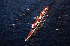 Rowers dans la tête du Regatta de Charles, Cambridge image stock