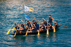 Rowers are getting ready for the start of the traditional boat marathon in Metkovic, Croatia Stock Photos