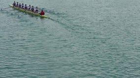Rowers on lake Jarun. Spring 2016 stock video