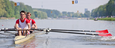 Rowers and oars royalty free stock photography