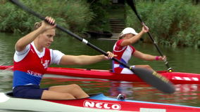 Rowers prepare for competition. Zabalj;Serbia; 08.03.2016.National team rowers in a kayak on the preparations for the Summer Olympic Games 2016. Video clip stock footage