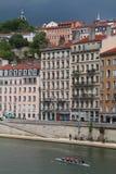 Rowers on Quais de Saone in Lyon  Royalty Free Stock Photo