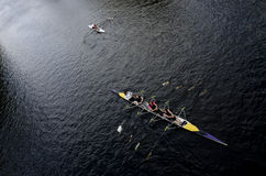 Rowers rowing boat on the river in York England. Kayaking. Royalty Free Stock Images