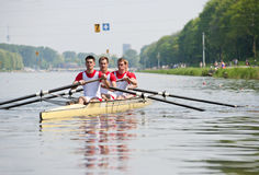 Rowers to the start royalty free stock images