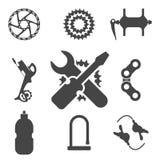 Roweru części, akcesoriów, naprawy i utrzymania sylwetki ikony Wektorowy set, ilustracji