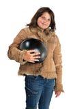 roweru dziewczyny hełma mienia preteen ja target3973_0_ Obraz Stock