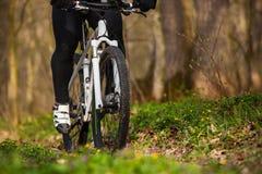 Roweru Górskiego cyklista jedzie pojedynczego ślad Zdjęcie Stock